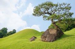 Den Suizenji trädgården är en landskapträdgård för rymlig japansk stil Arkivfoto