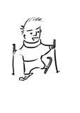 Den sunda barnmanen skidar på Fotografering för Bildbyråer