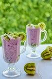 Den sunda chiaen kärnar ur exponeringsglas för pudding itu med yoghurt och ny skivad kiwi Detoxsuperfoodsfrukosten eller bantar e royaltyfri foto