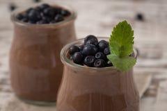 Den sunda frukosten eller morgonmellanmålet med chia kärnar ur chokladpud Royaltyfria Foton