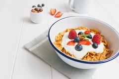 Den sunda frukosten med sädesslag och bär i en emalj bowlar Royaltyfria Foton