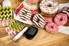 Den sunda livsstilen som är sund bantar utan socker, utan sockersjuka-diabetikern arkivbild