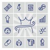 Den sunda livsstillinjen symboler - banta projektsymbolsuppsättningen vektor illustrationer