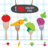 Den sunda matgrönsaken bantar äter den gulliga vektorn för den användbara vitamintecknade filmen Royaltyfri Bild