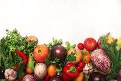 Den sunda rena ätaorienteringen, vegetarisk mat och bantar näringbegrepp Olika ingredienser för nya grönsaker för att laga mat på arkivbild