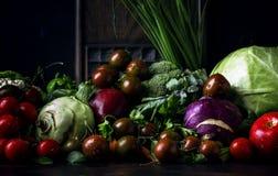Den sunda rena ätaorienteringen, vegetarisk mat och bantar näringbegrepp Olika ingredienser för nya grönsaker för sallad på brunt arkivbild