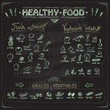 Den sunda svart tavlamenyn för mat med den drog handen sorterade frukter och grönsaker Royaltyfri Bild