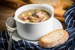 Den sura soppan som göras av rågmjöl Arkivbilder
