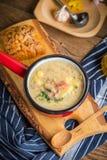 Den sura soppan som göras av rågmjöl Arkivbild