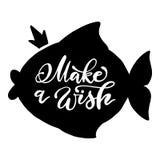 Den svart fisken med kronan och handskrivet gör ett önskauttryck Vektorillustration med typografi på vit bakgrund Royaltyfri Bild
