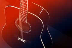 Den svarta akustiska gitarren, röd-blått tonade fotoet Royaltyfri Fotografi