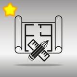 Den svarta arkitekten med en byggnadsritning, linjalen och blyertspennasymbolen knäppas det högkvalitativa logosymbolbegreppet Arkivfoto