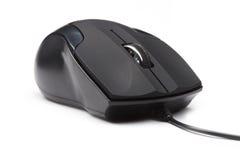 den svarta datoren isolerade musen Royaltyfri Fotografi