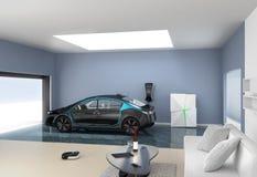 Den svarta elbilen parkerar in i modernt garage Royaltyfri Fotografi