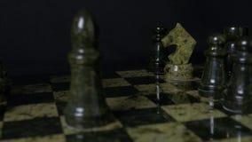 Den svarta elefanten i schack besegrar den vita hästen Detalj av schackstycket på svart bakgrund För bakgrund eller rengöringsduk Royaltyfri Fotografi