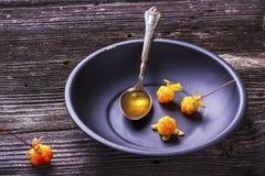 Den svarta enkla maträtten med en arktisk hjortron för sked kärnar ur hjortroner för mycket mogna nya bär för olja norr i vanligt Fotografering för Bildbyråer