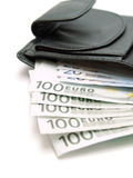 den svarta euroen isolerade läderpengar över plånbokwhite Royaltyfri Bild