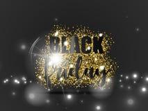 Den svarta fredag försäljningen med guld blänker och ljus effekt på svart bakgrund också vektor för coreldrawillustration Arkivfoton