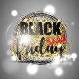Den svarta fredag försäljningen med guld blänker, svartcirklar och ljus effekt på silverbakgrund också vektor för coreldrawillust Royaltyfria Bilder
