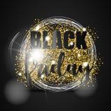 Den svarta fredag försäljningen med guld blänker, vitcirklar och ljus effekt på svart bakgrund också vektor för coreldrawillustra Royaltyfria Foton