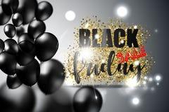 Den svarta fredag försäljningen med svarta realistiska ballonger på guld blänker textur också vektor för coreldrawillustration Royaltyfri Foto