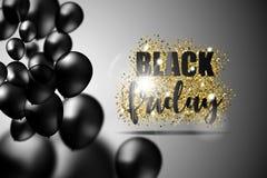 Den svarta fredag försäljningen med svarta realistiska ballonger på guld blänker textur också vektor för coreldrawillustration Arkivfoto