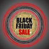 Den svarta fredag försäljningen på guld blänker textur med röda och svarta cirklar också vektor för coreldrawillustration Royaltyfri Foto