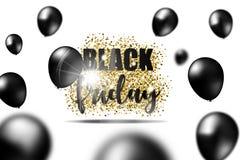 Den svarta fredag försäljningen på guld blänker textur med svarta realistiska ballonger också vektor för coreldrawillustration Royaltyfri Foto