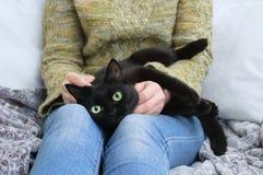 Den svarta katten ligger i händerna av flickan Hemma på sofaen arkivbilder