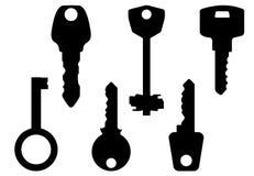 den svarta konturen keys white Arkivfoto