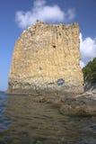den svarta kustrockryssen seglar havet Royaltyfri Foto