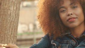 Den svarta kvinnan för det blandade loppet med stort afro lockigt hår i gräsmattafält med för hösthö för höjdpunkten torrt gräs o arkivfilmer