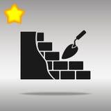Den svarta murverk- och byggnadsmurslevsymbolen knäppas det högkvalitativa logosymbolbegreppet Fotografering för Bildbyråer