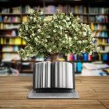 Den svarta PC:n med pengarträdet 3d framför framgångknowlagebegrepp Arkivfoto