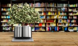 Den svarta PC:n med pengarträdet 3d framför framgångknowlagebegrepp Fotografering för Bildbyråer