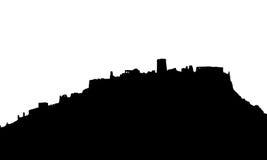 Den svarta realistiska konturn av fördärvar av ett medeltida slottanseende på kullen som isoleras på vit bakgrund Royaltyfri Fotografi