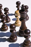 den svarta schackkonungen nära pantsätter vita stycken arkivfoto
