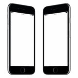 Den svarta smartphonemodellen roterade litet båda sidor royaltyfri bild