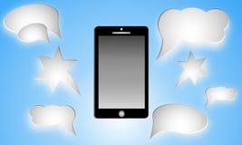 Den svarta smartphonen med tomt anförande bubblar för text Royaltyfri Foto