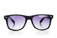 Den svarta solglasögon stänger sig upp kvast isolerad white Fotografering för Bildbyråer