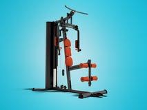 Den svarta sportexerciseren med en orange mjuk ledstång för benen och händer för sportar som utbildar isolerad 3d, framför på blå stock illustrationer