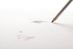 den svarta teckningsögoneyeliner gör blyertspennan att skissa upp arkivbild