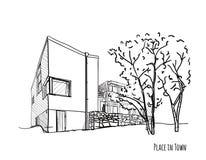 Den svartvita arkitektoniska vektorn skissar Arkivfoton