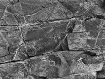 Den svartvita stenen vaggar med sprickor i bakgrunden Royaltyfria Foton