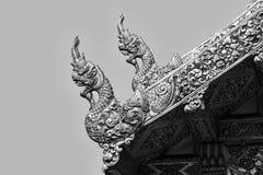 Den svartvita thailändska konsten av djur i mytologi på Royaltyfri Bild