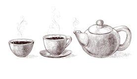 Den svartvita vektorn skissar illustrationen av nytt bryggat varmt och smaksatt morgonkaffe och te från tekannan i kopp vektor illustrationer