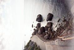 Den sydliga kusten av den Krim Foros byn, stad parkerar arkivbild