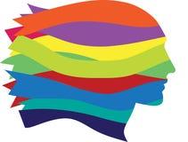 Den symboliska kvinnan vänder mot gjort av mång--färgar band Arkivbild