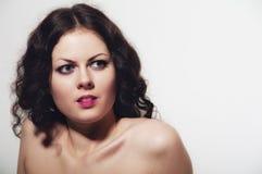 Den tänkande flickan med naket knuffar Fotografering för Bildbyråer