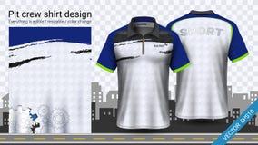 Den tävlings- t-skjortan med blixtlåset, mall för sportdräktmodell, skapar kläder och likformig royaltyfri illustrationer